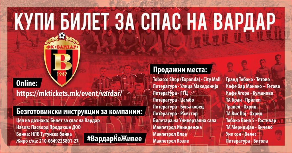 Vardar Football Club donations
