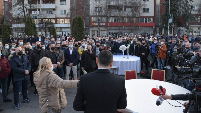 Events and wedding halls owners stage a protest in front of Government