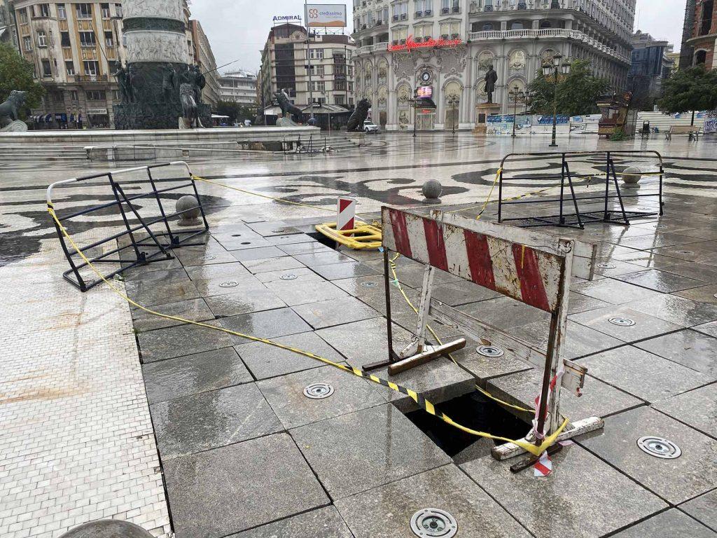 Damaged fountain in Skopje